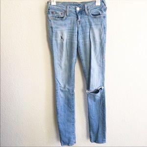 True religion ripped skinny leg jeans size 26